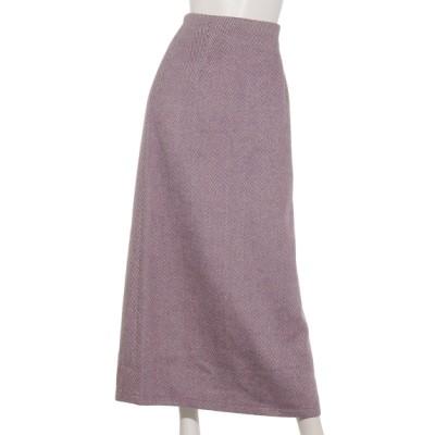 DouDou (ドゥドゥ) レディース ヘリンボーン柄スカート パープル S