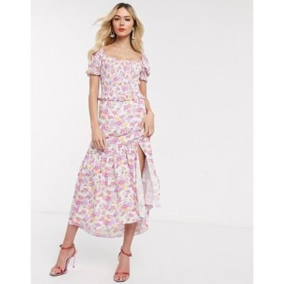 ダークピンク レディース ワンピース トップス Dark Pink shirred maxi dress in bright ditsy