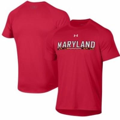 Under Armour アンダー アーマー スポーツ用品  Under Armour Maryland Terrapins Red Wordmark School Logo Tech 2.0 Performance T-Shi