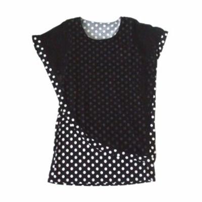 2plus8 ツープラスエイト アシンメトリードットチュニックワンピース (黒 水玉 ドレス) 103200【中古】