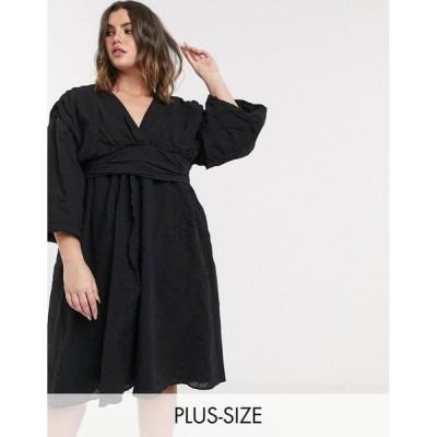 ロストインク ドレス 大きいサイズ レディース Lost Ink plus midi dress with balloon sleeves and full skirt in textured fabric エイソス ASOS ブラック 黒