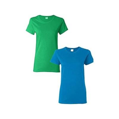 Gildan Women's Heavy Cotton Adult T-Shirt, 2-Pack MED-Irish Green-Sapphireインポート 送料無料