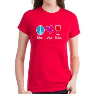 レディース 衣類 トップス CafePress - Peace Love Wine - Women's Dark T-Shirt グラフィックティー