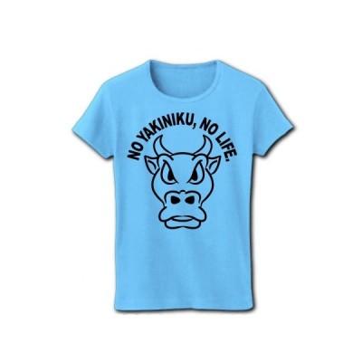 NO焼肉、NOライフ リブクルーネックTシャツ(ライトブルー)
