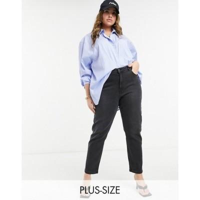ヴェロモーダ レディース デニムパンツ ボトムス Vero Moda Curve Joana ankle length mom jeans in black