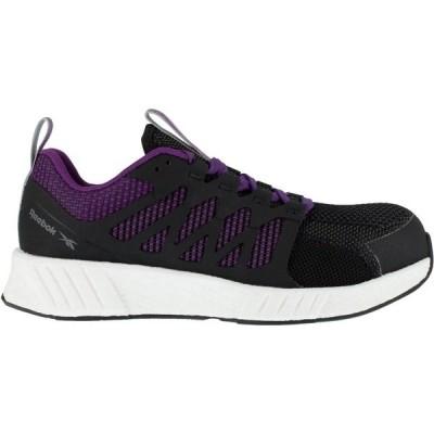 リーボック スニーカー シューズ レディース Reebok Women's Fusion Flexweave FloatRide Athletic Work Shoes Black/Medium Purple
