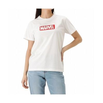 (MAC HOUSE(women)/マックハウス レディース)MARVEL マーベル ボックスロゴTシャツ 0283-9915/レディース ホワイト