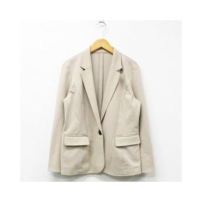 【中古】エル ELLE テーラードジャケット アウター 長袖 1つボタン 無地 シンプル ベージュ 40 レディース 【ベクトル 古着】