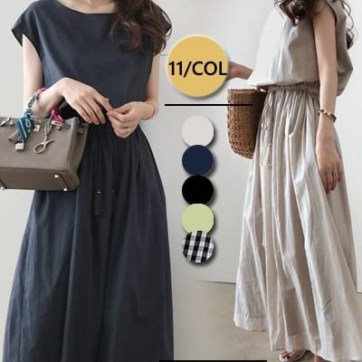 ◆時間限定◆春夏人気新品 韓国ファッション 綿  裏地  春夏の 大きいサイズ 半袖 、長袖 ロングワンピ コットンリネン 、ワンピース 、ベルトのワンピース