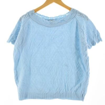 HABAND 半袖 サマーニットセーター USA製 レディースL /eaa143345