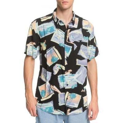 クイックシルバー Quiksilver メンズ 半袖シャツ トップス vacancy short sleeve shirt Black Vacancy