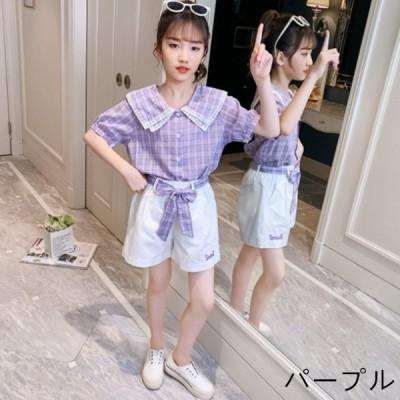 韓国子供服 セットアップ 女の子 夏服 お洒落 上下セット半袖 チェック柄 シャツ   ショートパンツ 2点セット キッズ ガールズ オシャレ お出か