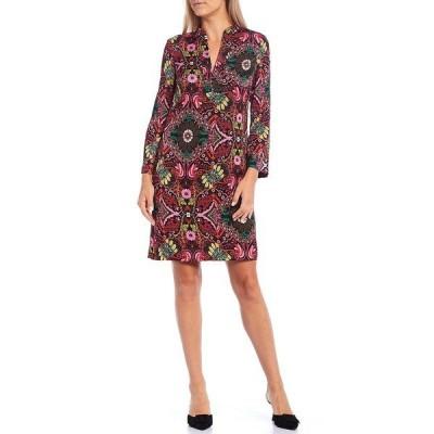 トリーナターク レディース ワンピース トップス Christie Carpet Print V-Neck Long Sleeve Shift Dress Multi Black