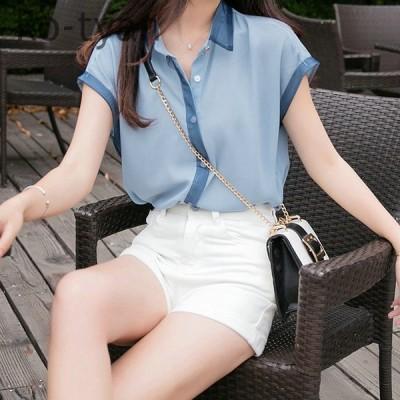 春夏 ブラウス 可愛い 韓国風 レディース ブラウス半袖 ストライプ Tシャツ シフォンシャツ