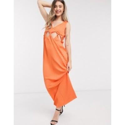 エイソス レディース ワンピース トップス ASOS DESIGN knot waist plunge pleated maxi dress in orange Orange