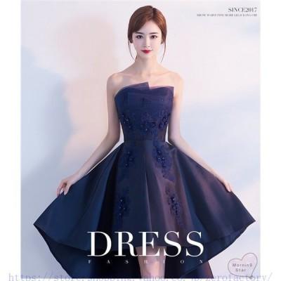 パーティードレス結婚式ドレス袖なし膝丈オフショルダーウエディングドレス不規則大人上品花嫁可愛い