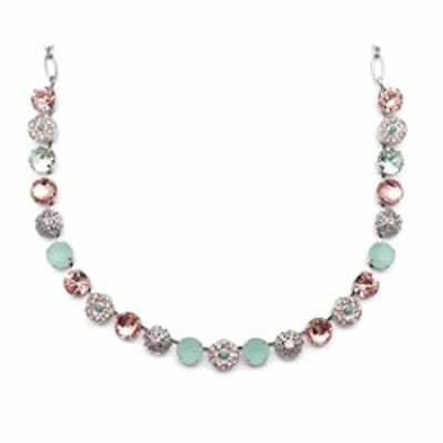 Mariana Monarch Silvertone Necklace Light Peach and Green Crystal Mix Floral Mosaic 1124