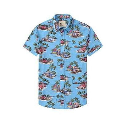 Damipow Hawaiian Shirts for Men Short Sleeve Aloha Beach Shirt Floral Summe