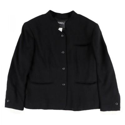 シャネル 03P 4Bシングルジャケット レディース 42 黒 ウール 袖切替 ココマークボタン CHANEL【F4-5432】