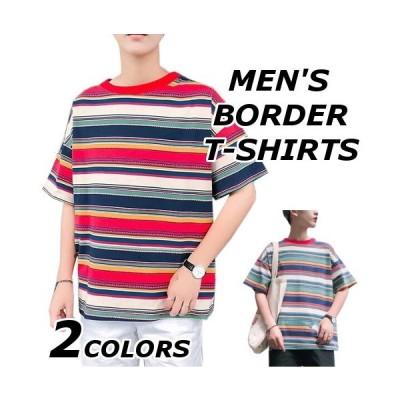 Tシャツ メンズ 半袖 おしゃれ ブランド 無地 柄 ボーダー 半袖Tシャツ カットソー トップス 大きいサイズ 春 夏 40代 50代