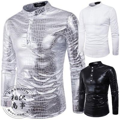 ワイシャツメンズ長袖スタンドカラーシャツトップスバンドカラーカジュアル春秋3色選択可大きいサイズ