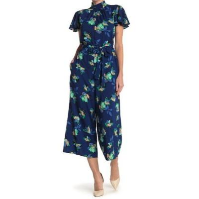 ドナモーガン レディース ワンピース トップス Floral Flutter Sleeve Jumpsuit NAVY