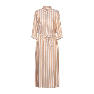 PAOLO CASALINI 7分丈ワンピース・ドレス あんず色 S レーヨン 99% / 金属繊維 1% 7分丈ワンピース・ドレス