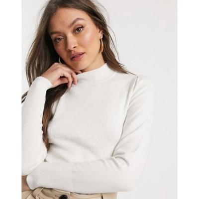 ウエアハウス レディース ニット・セーター アウター Warehouse sweater with funnel neck in ivory