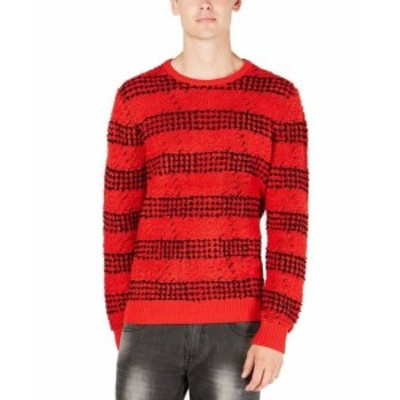 Red  ファッション トップス INC NEW Red Mens Size Large L Striped Knit Pullover Crewneck Sweater