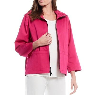 キャロライン ローズ レディース ジャケット・ブルゾン アウター Stretch Cotton Blend Ruched Collar Zip Front Jacket
