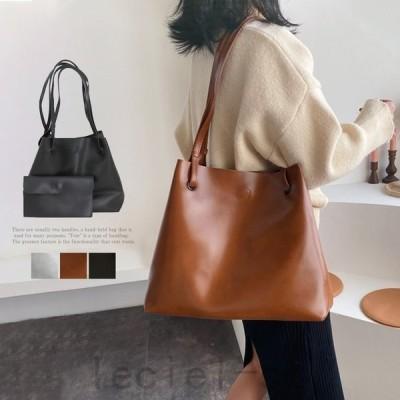 トートバッグ レディース 肩掛けバッグ ハンドバッグ フェイクレザー 鞄 ポーチ付き 韓国 通勤通学(メ便不可)