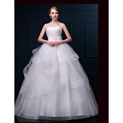 ウェディングドレス ホワイト 花嫁ドレス ロングドレス プリンセスドレス オフショルダー 二次会 披露宴 お姫系 エンパイア結婚式