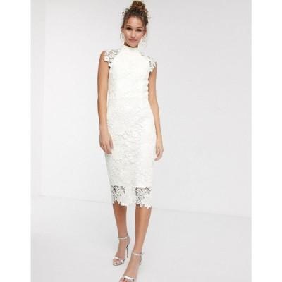 ペーパー ドールズ Paper Dolls レディース ワンピース ミドル丈 high neck cap sleeve lace midi dress in winter white ウィンターホワイト