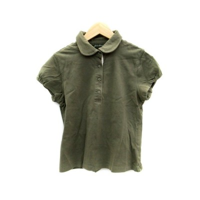 【中古】エディーバウアー EDDIE BAUER ポロシャツ ラウンドカラー 半袖 無地 S カーキ /HO22 レディース 【ベクトル 古着】