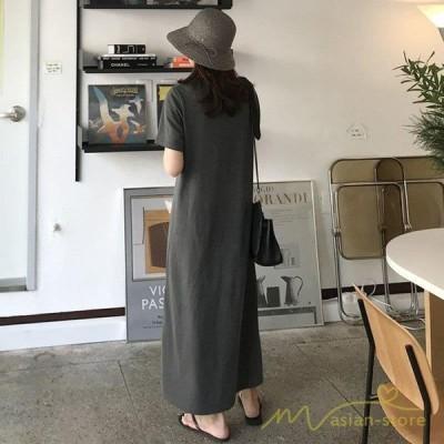 レディースワンピースtシャツ半袖ゆったりロングワンピースロングTシャツチュニック女性着半袖シンプルガジュマル薄手無地