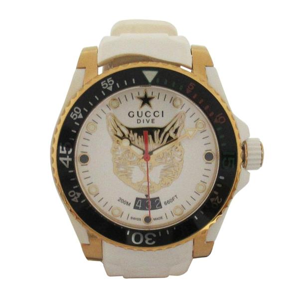 GUCCI 古馳 Dive 系列金色貓頭石英運動腕錶 136.3【二手名牌 BRAND OFF】
