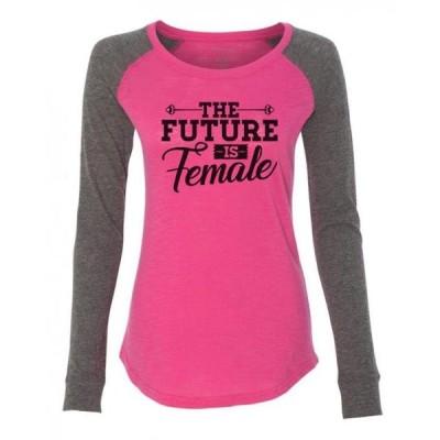レディース 衣類 トップス Women's Funny Workout Raglan The Future Is Female Patched - Feminist Shirt X-Small Punch Tシャツ