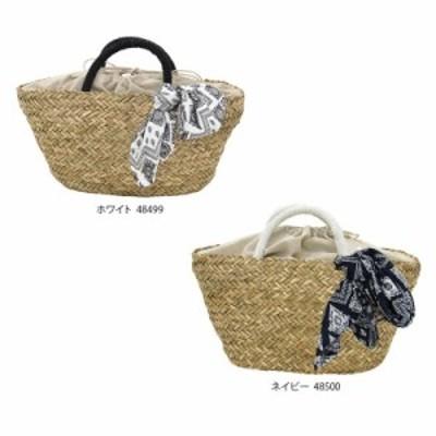 kago bag かごバッグ シーグラス かごバッグ スカーフ付き バンダナネイビー・48500