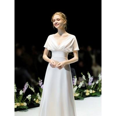 ウェディングドレス 白 二次会 花嫁 カラードレス ギリシャ風 ワンピース ロングドレス 結婚式 海外 Aライン 大人気 可愛い きれいめ おしゃれ ビーチフォト