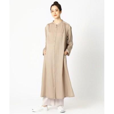 COMME CA BLANC D'OEUF/コムサブロンドオフ 〔マタニティ〕サテン ロングシャツドレス ベージュ M〜L