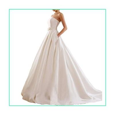 Yuxin Women's Lace Wedding Dress Long 3/4 Sleeves Sweep Train Satin Bridal Gown並行輸入品