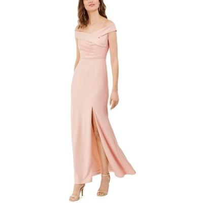 アドリアナ パペル ワンピース トップス レディース Off-The-Shoulder Crepe Gown Blush Pink