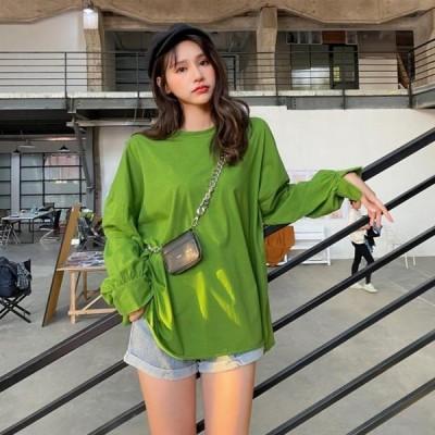 オーバーサイズ 長袖Tシャツ ロンT ゆったり 裾切りっぱなし カットオフ 無地 レディース春秋 グリーン 緑 フリーサイズ【送料無料】