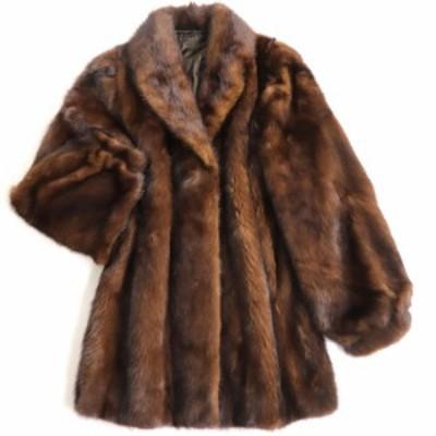 極美品▼2 MINK ミンク 裏地馬車柄 本毛皮コート ブラウン 毛質艶やか・柔らか◎