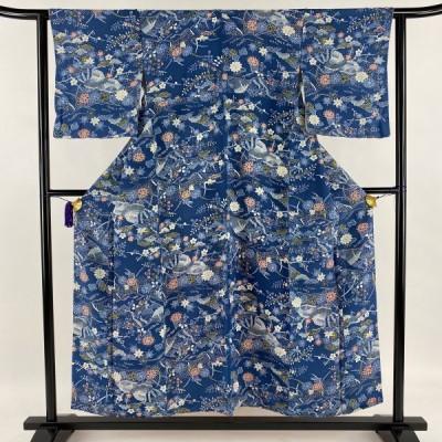 小紋 優品 草花 家屋 縮緬 藍色 袷 身丈154cm 裄丈62cm S 正絹 中古