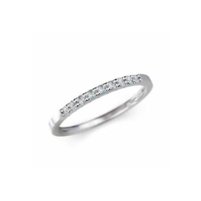 10kホワイトゴールド ハーフ エタニティ 指輪 平らな指輪 3月誕生石 アクアマリン 幅リング 微細