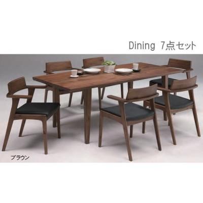 送料無料 ダイニング7点セット 190テーブル 椅子6脚食卓 木製 シンプル オシャレ (プラハ)ブラウン