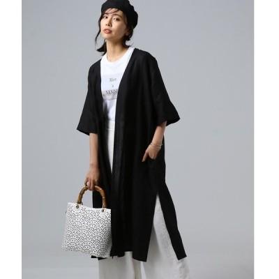 アウター 【洗える】リネンノーカラーコート