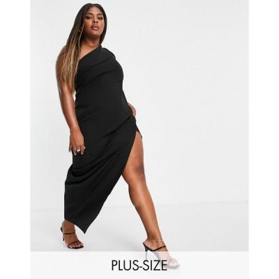 ベスパー ドレス 大きいサイズ レディース Vesper Plus one shoulder maxi dress with thigh split in black エイソス ASOS ブラック 黒