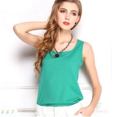 レディース 夏ファッション タンクトップ シフォン キャンディカラー ルーズ シャツ